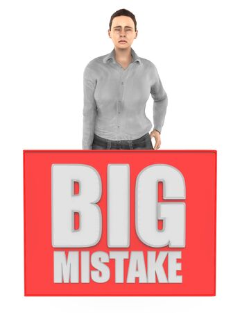 3d character , woman sad , worried , crying and a big mistake board - isolated in white background- 3d rendering
