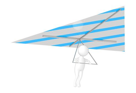 3d character , man fliying with a hang glider - 3d rendering