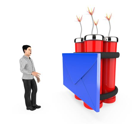 3d character , man , fearfull , looking at a message  envelope tied to a lighted dynamite - 3d rendering