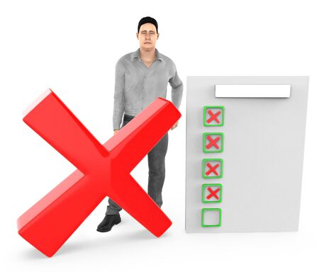 3d character , man sad , cross sign and a clipboard with red cross sign - 3d rendering Imagens