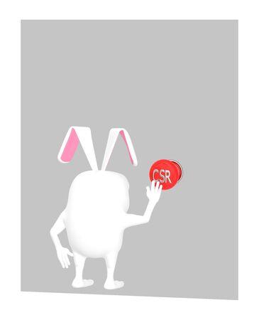 3d character , rabbit pressing csr button - 3d rendering Stok Fotoğraf