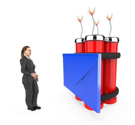 3d character , woman , fearfull , looking at a message  envelope tied to a lighted dynamite - 3d rendering Banco de Imagens