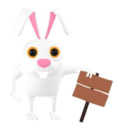 3d character , rabbit and empty copyspace wooden board - 3d rendering Фото со стока
