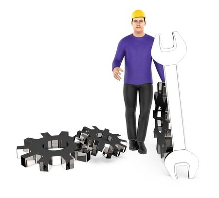 3d character , man worker wearing safety cap and standing near to a different cog wheels 版權商用圖片