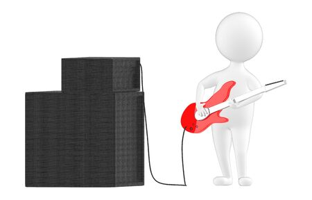 3d character , man playing guitar connected to a speaker - 3d rendering