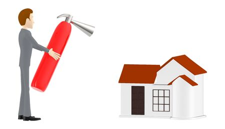 3d character , man holding fire extinguisher towards house - 3d rendering Stockfoto