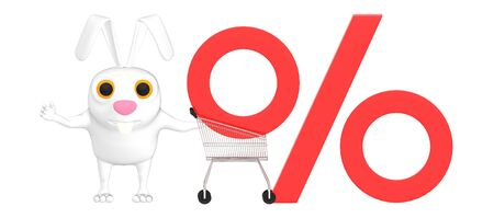 3d character , rabbit , trolley and percentage sign - 3d rendering Stock Photo