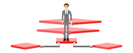 3d character , man standing over a flow chart - 3d rendering Imagens