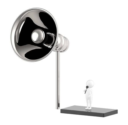 3d character , man holding a mic and standing over a small elevated area from ground near to a large speaker - 3d rendering Фото со стока