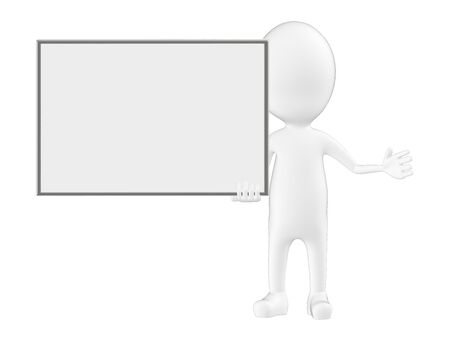 3d character , man holding a empty white board - 3d rendering Фото со стока