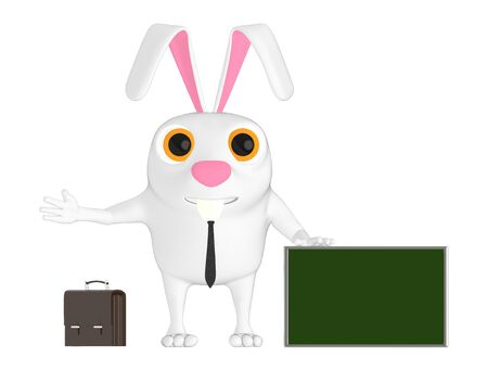 3d character , rabbit briefcase and a empty banner board on ground - 3d rendering