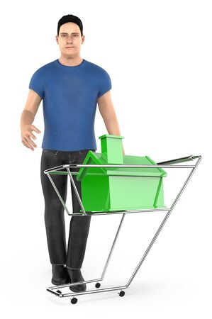 3d character , man and a trolley  cart with a miniature house in it - 3d rendering