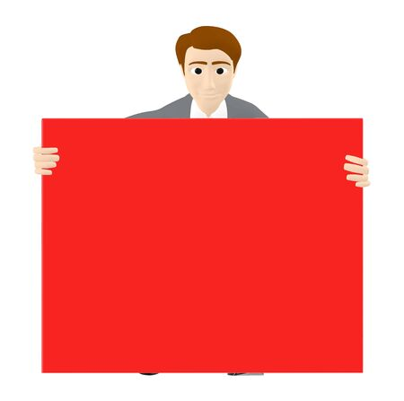 3d character , man and a red large empty copyspace banner - 4d rendering