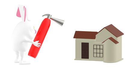 3d character , rabbit holding fire extinguisher towards house - 3d rendering