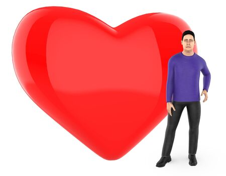 3d character , man worried , sad , standing near to a heart  love shape sign - 3d rendering Фото со стока