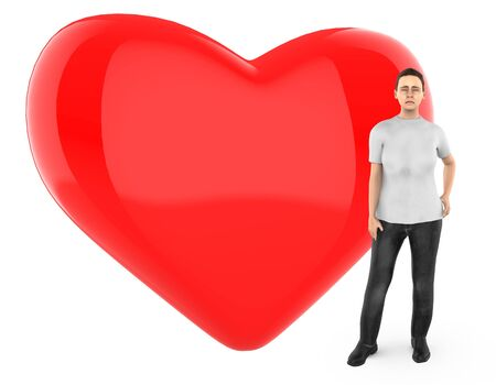 3d character , woman worried , sad , standing near to a heart  love shape sign - 3d rendering Фото со стока