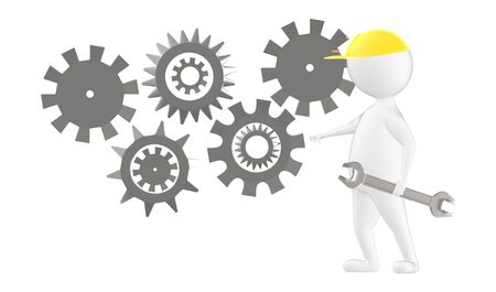 3d character , man worker wearing safety cap and standing near to a different cog wheels- 3d rendering
