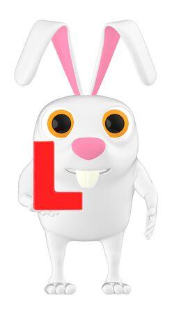 3d character , rabbit and lb Alphabet- 3d rendering