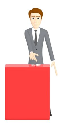3d character , man pointing his hands towards a empty red copyspace banner box - 3d rendering Фото со стока