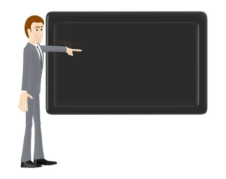 3d character , man pointing his hand towards a black empty board - 3d rendering
