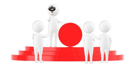3d character man , holding a megaphone and showing a empty circle badge while standing over a podium with a three people listening to him- 3d rendering