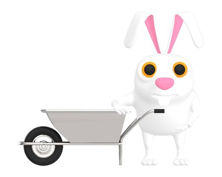 3d character , rabbit and a wheel barrow - 3d rendering