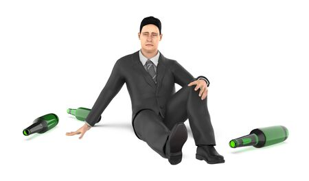 3d character , man , worry , stress , head ache , empty bottles on ground- 3d rendering