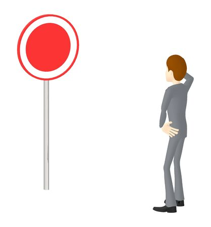 3d character , man looking at a post with empty copyspace circular sign board - 3d rendering