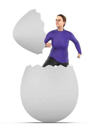 3d character , woman out from a cracked egg shell- 3d rendering