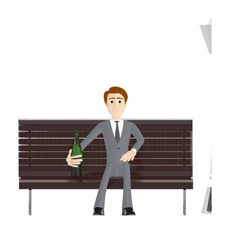 3d character , man sitting in a bench with a bottle in his hands - 3d rendering 写真素材