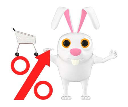 3d character , rabbit , percetage sign and trolley - 3d rendering