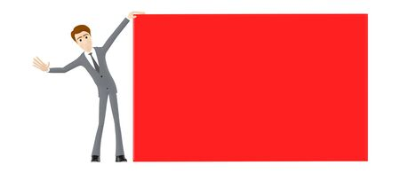 3d character , man showing a red empty large banner board - 3d rendering