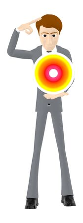 3d character , man holding a crystal sphere- 3d rendering