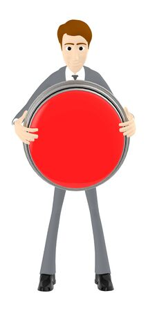 3d character , man holding a cicular button  empty copyspace - 3d rendering Фото со стока