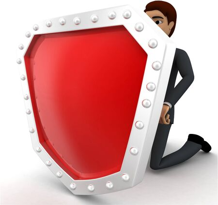 3d man hiding behind shield concept on white background, left side angle view