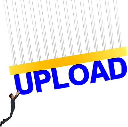 3d man about to grab UPLOAD text concept on white background - 3d rendering , front angle view Stock Photo