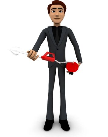 3d man with fire extinguish concept on white background, front angle view