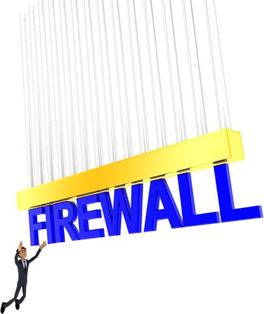 3d man about to grab FIREWALL text concept on white background - 3d rendering , side angle view