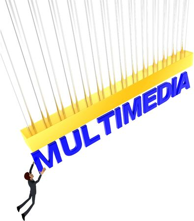 3d man about to grab MULTIMEDIA text concept on white background - 3d rendering , top angle view Stock Photo