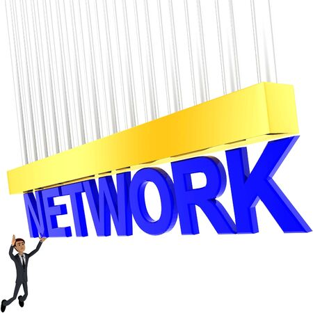 3d man about to grab NETWORK text concept on white background - 3d rendering , side angle view Stock Photo