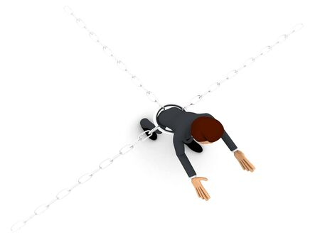 3d man bind by metalic chain and try to escape concept on white background, top  angle view