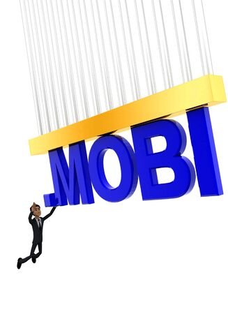 3d man about to grab .MOBI text concept on white background - 3d rendering , side angle view
