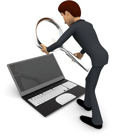 3d man searching on laptop with magnifying glass concept on white background, back angle view
