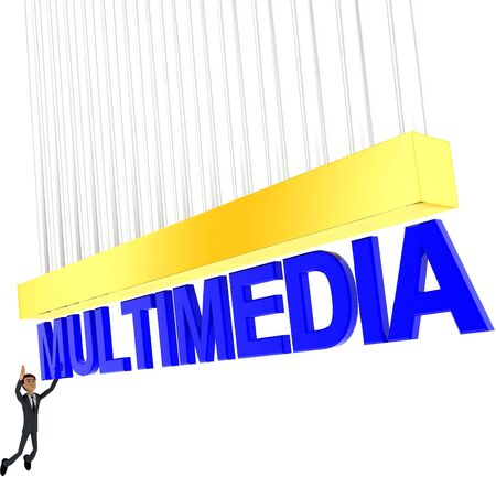 3d man about to grab MULTIMEDIA text concept on white background - 3d rendering , side angle view