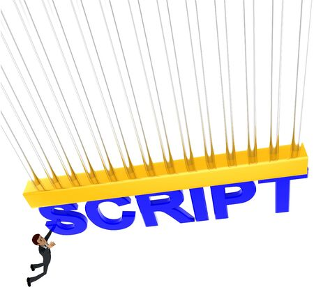 3d man about to grab SCRIPT text concept on white background - 3d rendering , top angle view Stock Photo