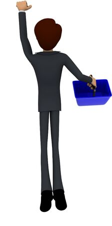 3d man holding basket in hands concept in white isolated background , back angle view