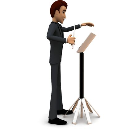3d man music composer concept on white background - 3d rendering , side angle view