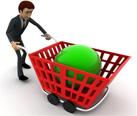 3d man with red shopping cart and green sphere in it concept on white background, side angle view
