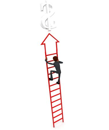 3d man climb arrow stair up towrds silver dollar sign concept on white background, back angle view