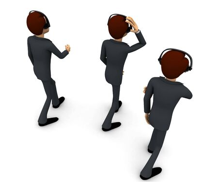 3d three men with headphone concept on white background,  top back angle view